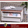 ottoman furniture wood top white steel frame bench seat with cushions & iron magazine rack & shallow drawer