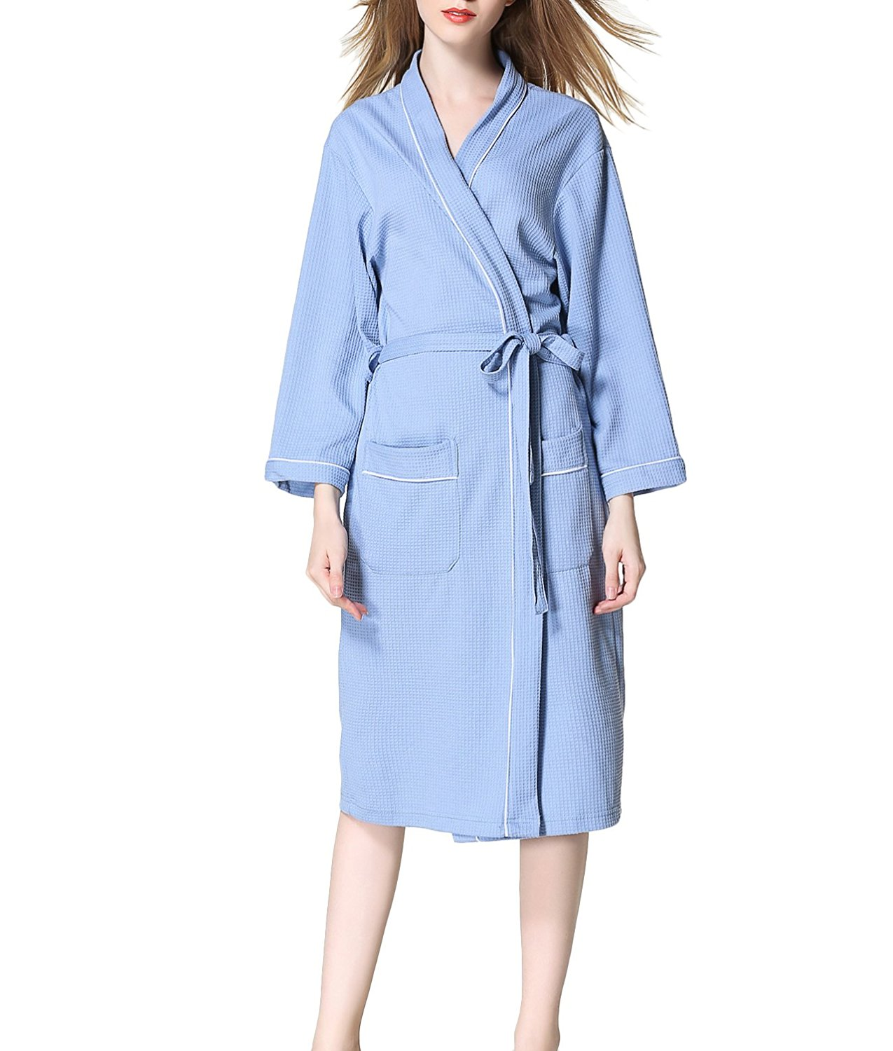 de289a459d Get Quotations · Haloyo Women Men Hotel Spa Waffle Kimono Soft Warm Long  Hooded Robes Sleepwear Bathrobe