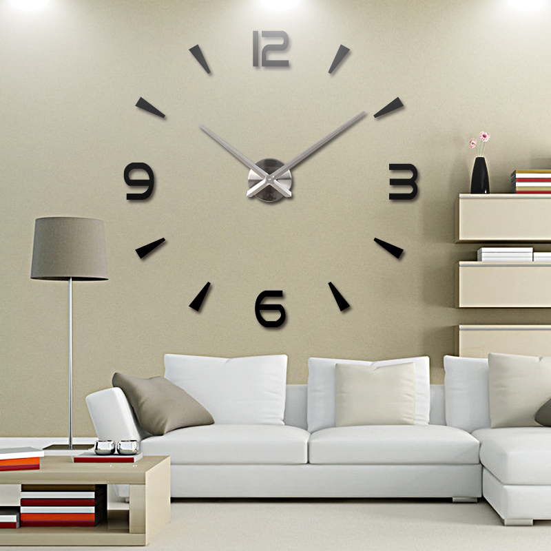 2015 new vintage wall clock modern design large diy acrylic clocks horloge murale quartz watch. Black Bedroom Furniture Sets. Home Design Ideas