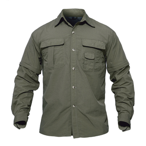 OEM Men Shirt Summer Quick Drying Sleeves Detachable Shirts Military Army Tactical Shirts Breathable Workout Wear