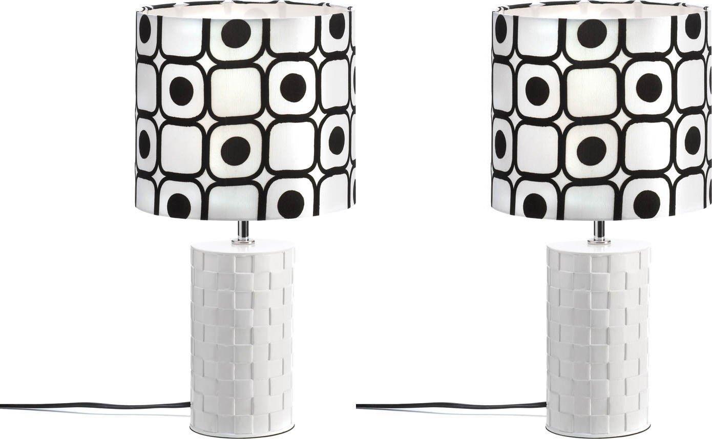 SET OF 2 POP ART GEOMETRIC ROUND BASE BLACK AND WHITE TABLE LAMP NEW~10015649
