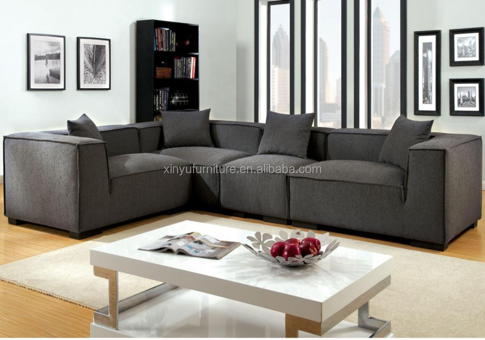 V shape living room fabric sofa set in dark grey xyn2062 for V shaped living room