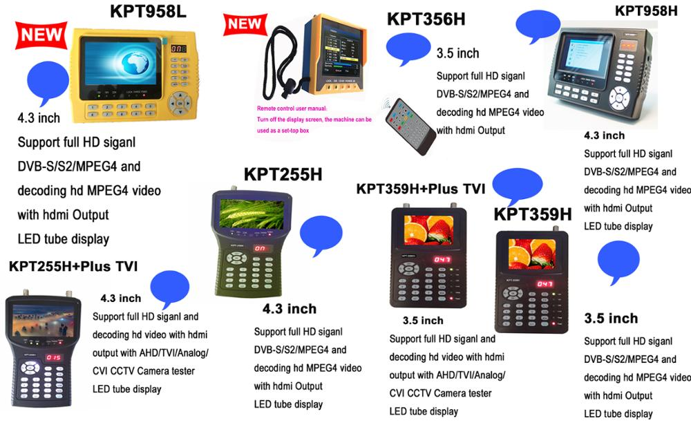 KangPut KPT-255H + (plus) TVI pieno DVB-S2/MPEG4 HDl satellite finder con decodifica supporto video hd TVI e AHD Camera tester