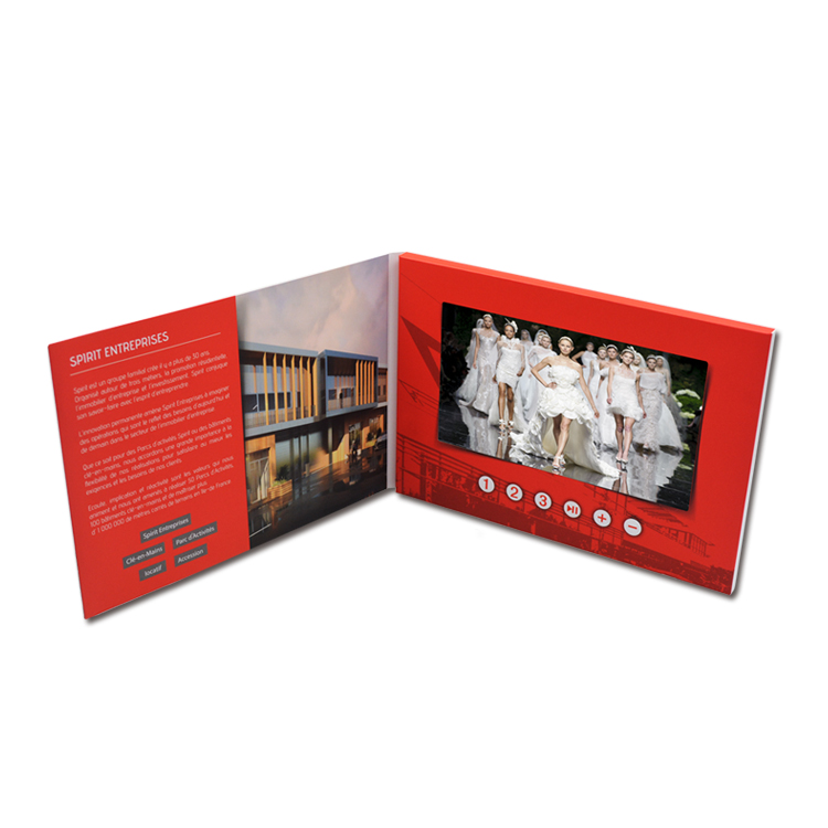 New arrival printing 7 inch lcd card brochure video marketing invitation booklet digital music business wedding card