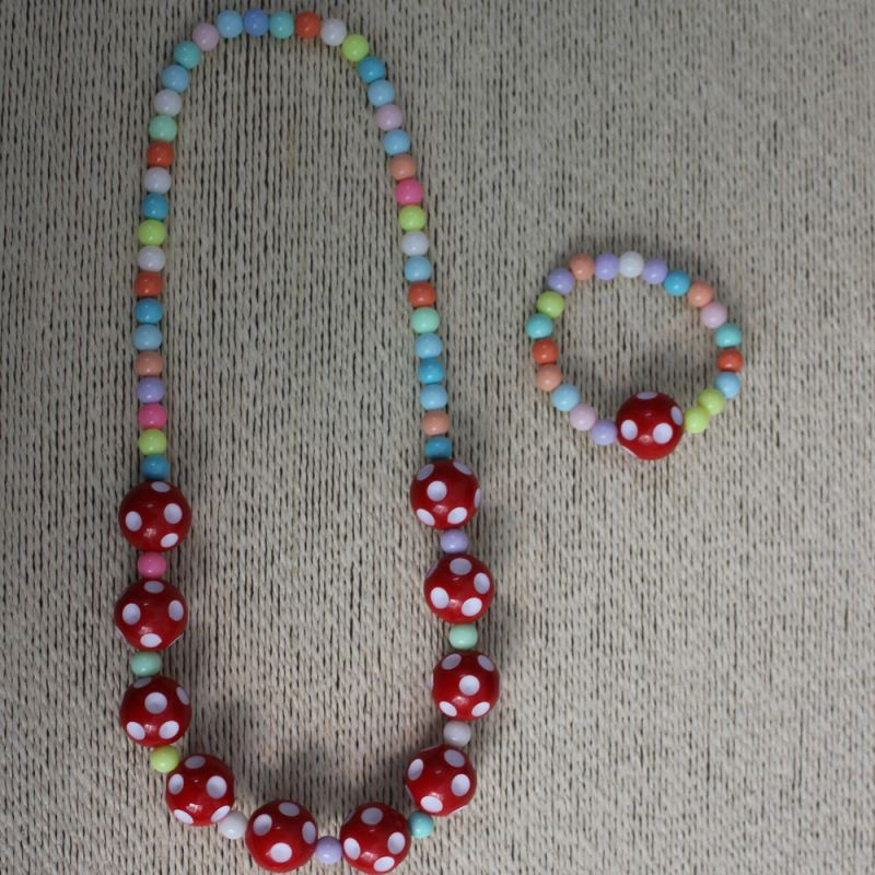 Wholesale 20MM Resin Lucite Bubblegum Polka Dot Beads Necklace Disco Ball Bead Necklace For Baby Girl