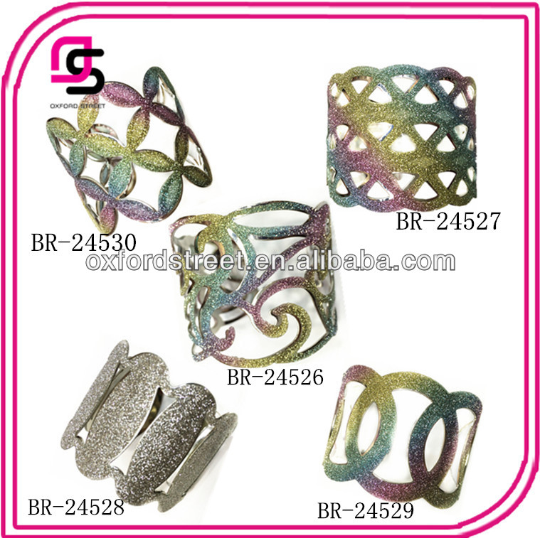 Yiwu wholesale fashion open wide cuff jewelry with glitter fabric bangle design