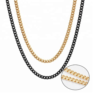 2018 New Design 316L Stainless Steel Chain Black Cuban Link Necklace