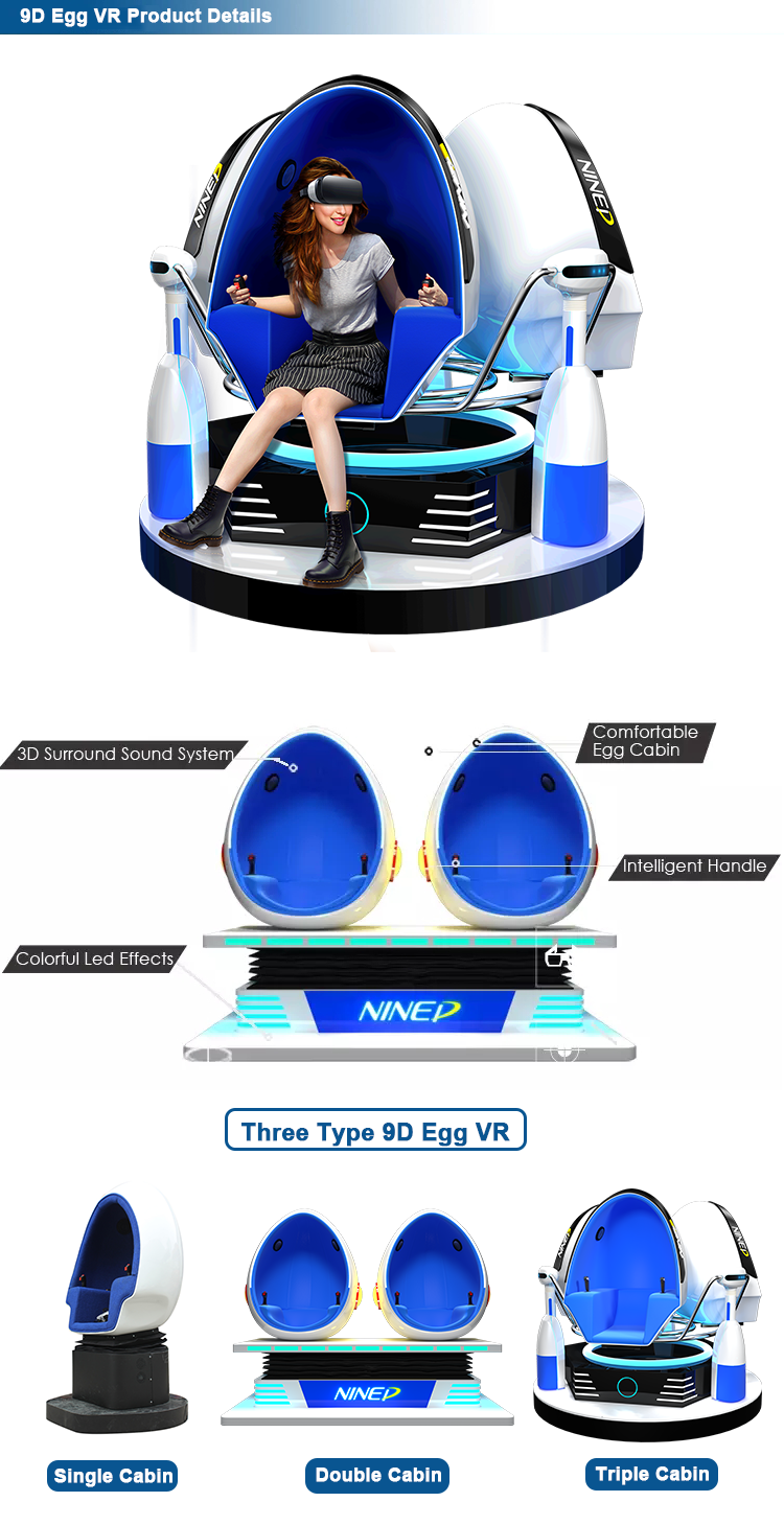 9D Virtual Reality Game Machine Egg Chair 360 Vision Roller Coaster 9D VR Chair 2 Seats 9D VR Simulator 9D Egg VR Cinema