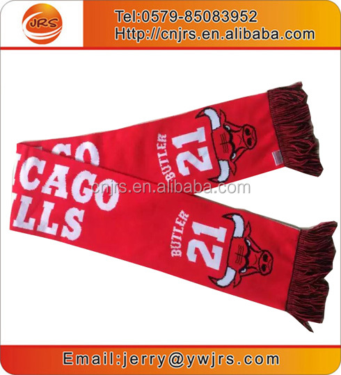 Factory wholesale cheap knitted soccer scarf red and white striped scarf