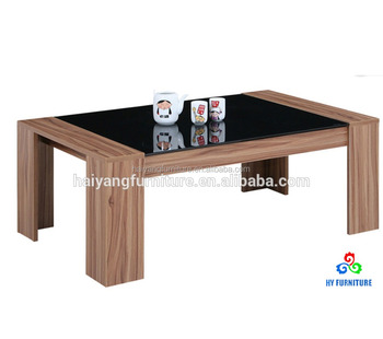 Simple Design Living Room Tea Table Wooden Frame Glass Top Coffee