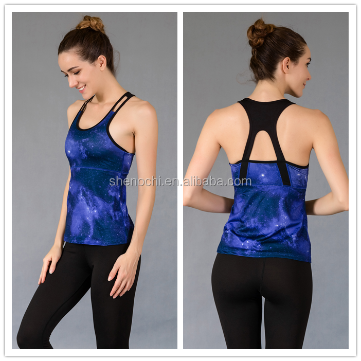 Mature women sports active wear strappy criss-cross tank tops for yoga fitness