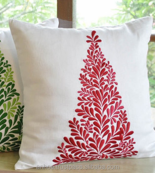 Linen embroidery christmas tree pattern cushion cover & Linen Embroidery Christmas Tree Pattern Cushion Cover - Buy ... pillowsntoast.com