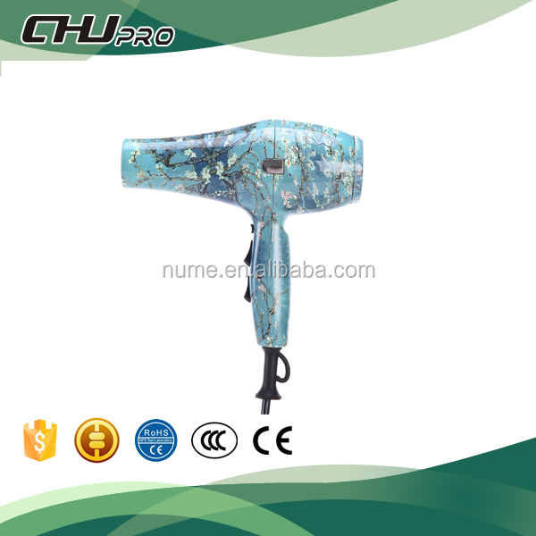 Professional salon ceramic flower print hair dryer 2017