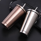 Custom double wall travel coffee water reusable drinking insulated stainless steel vacuum tumbler mug cup with metal straw