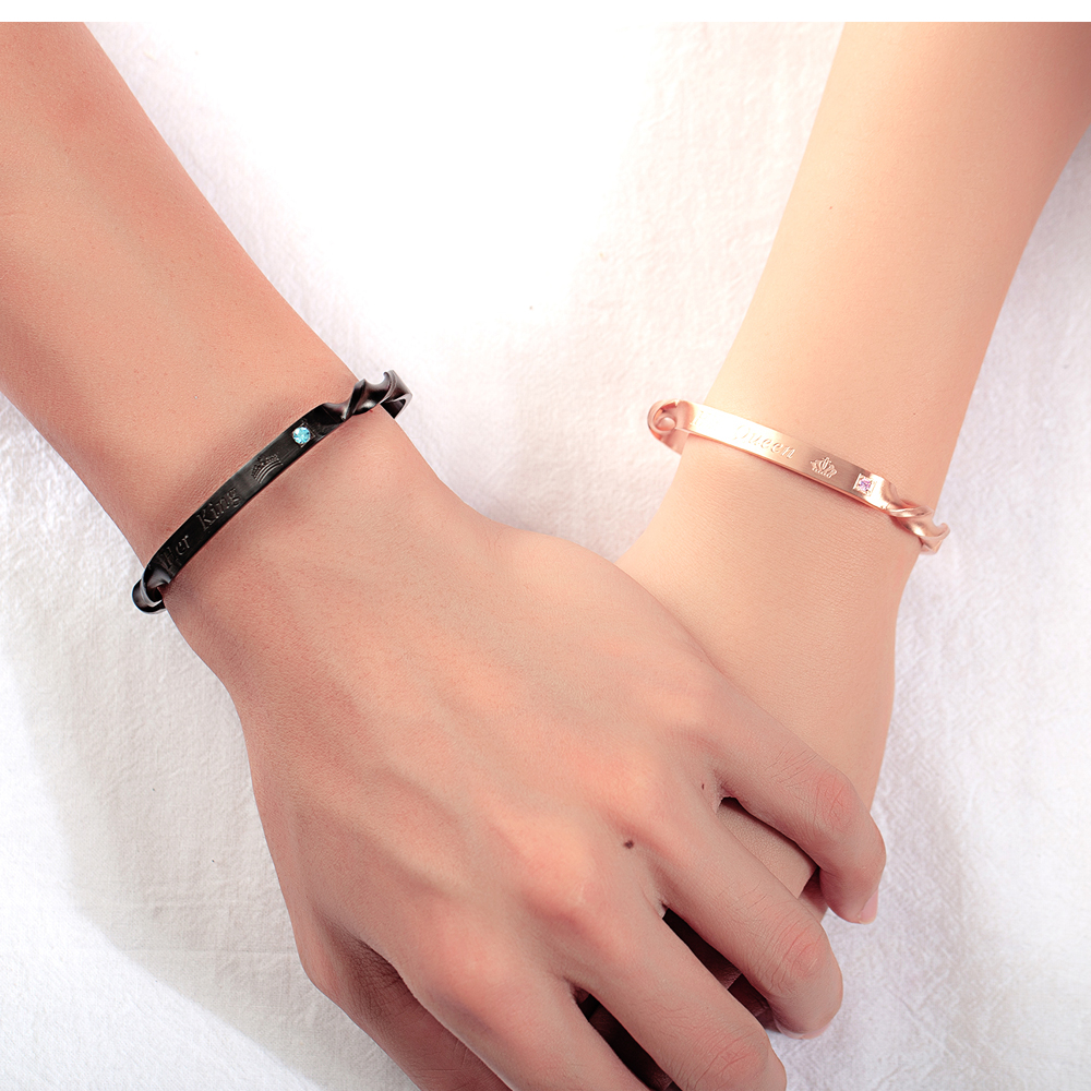 Custom Couple Design Stainless Steel Engraved His Queen Her King Screw Cuff Bracelets Bangles