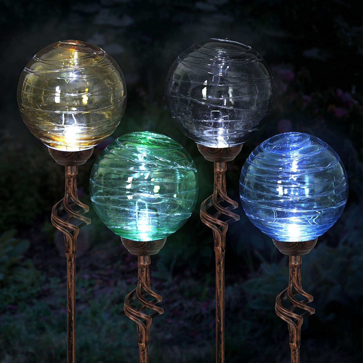 Get Quotations · Exhart 4pk Solar Hairline Glass Ball Finial Garden Stake  Assortment, Stakes, Variety Of Colors