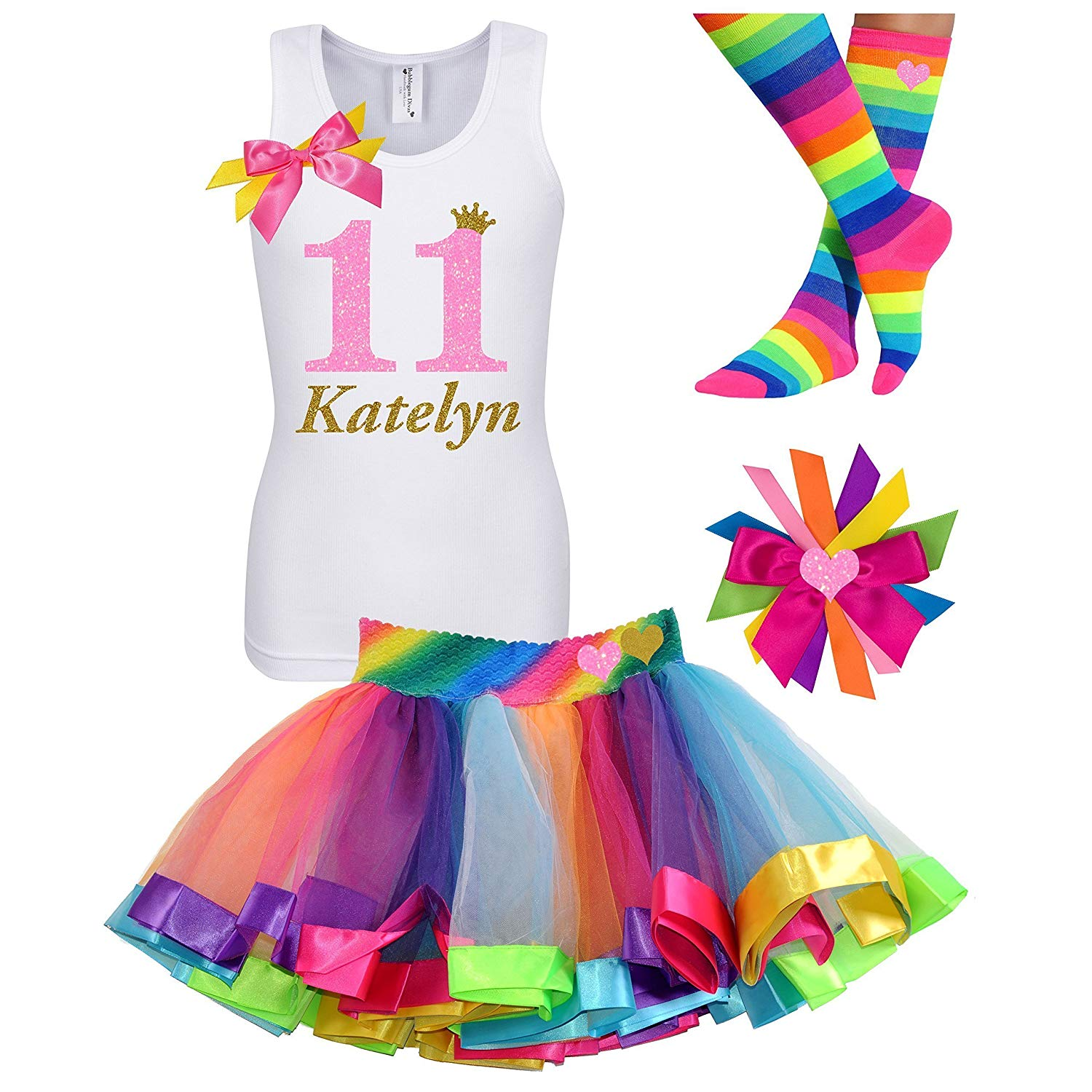 11th Birthday Shirt Glitter Neon Glow Party Rainbow Outfit Tween Girls Gift Personalized Name Age 11