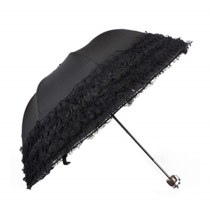 Ultraviolet-proof elegant ladies girls black wedding parasols bride mini lace umbrella with dot print inside