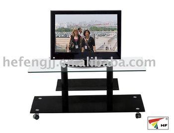 Hot Sale Black TV Shelf With Wheels