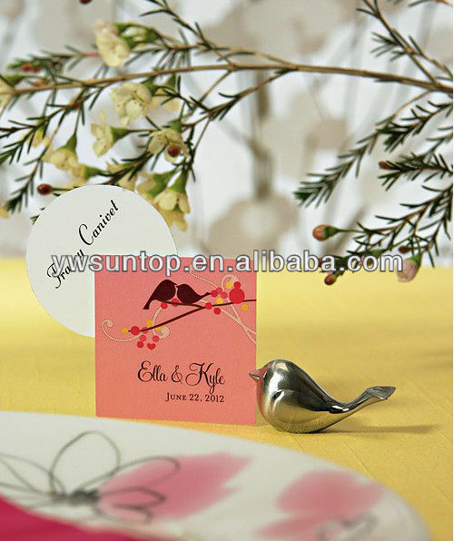 Love Bird Card Holders with Brushed Silver Finish wedding table ornament
