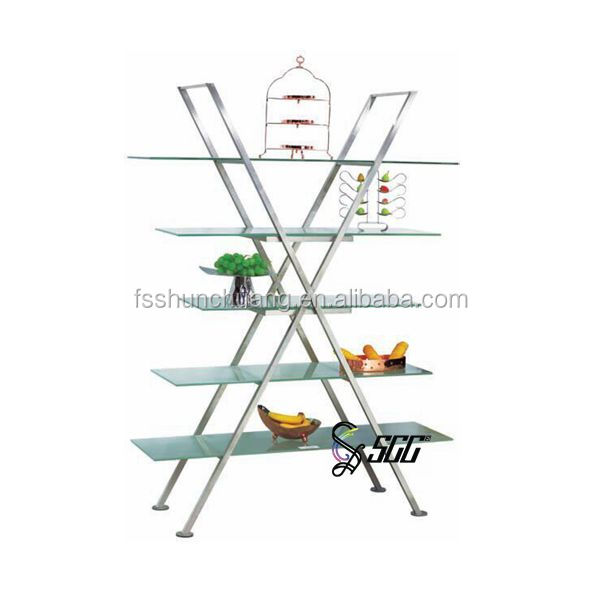 X Shaped Stainless Steel and Glass Display Shelf /Storage Rack