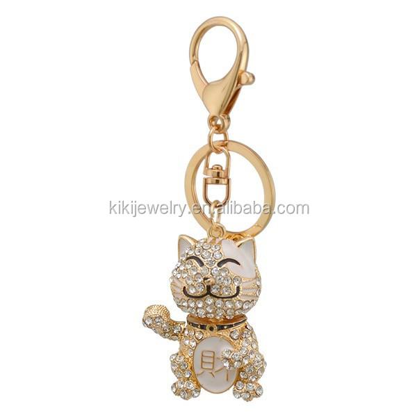 Lucky Crystal Cat Golden Maneki Neko Keyring