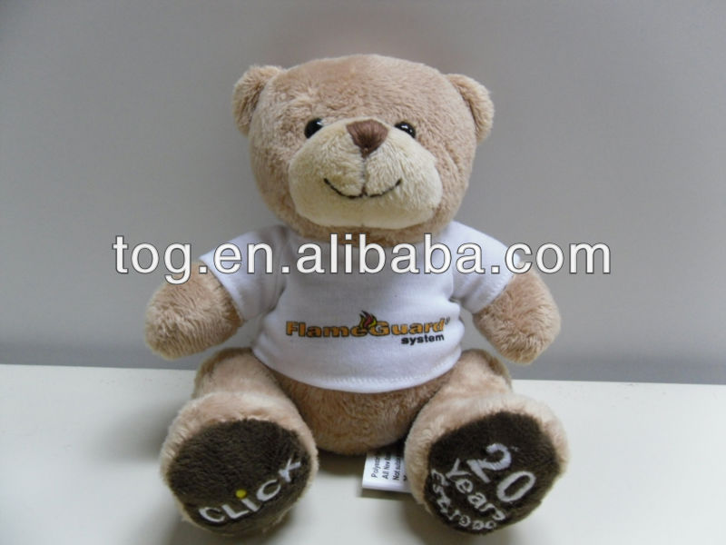 Interactive Super Soft OEM Mini plush 8 inch T-shirt bear toy with embroider logo