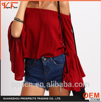 2016 Latest Fashion Design sexy Half sleeve Blue V-neck loose pattern Poncho Blouse for women