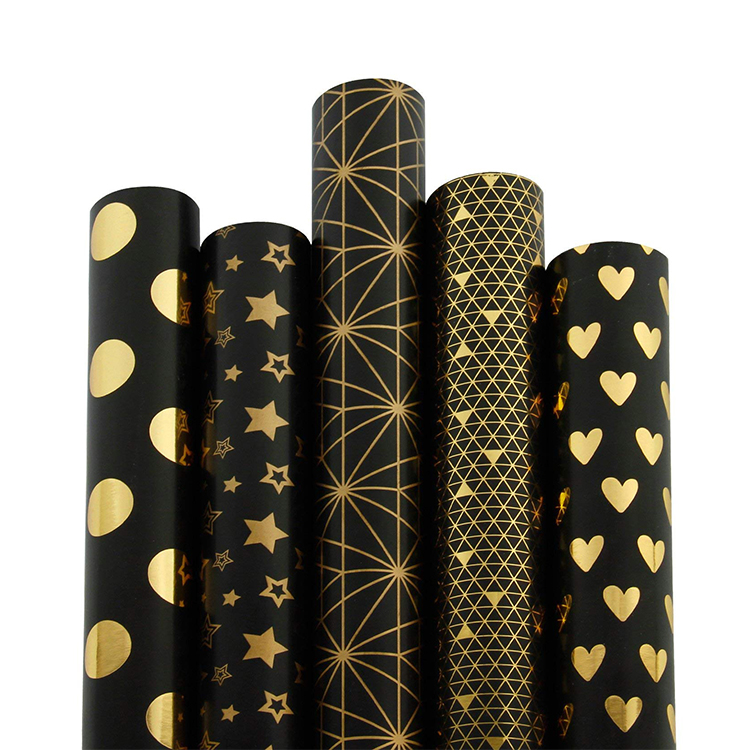 High Grade Luxury Gold Foil Pattern Printed Black Gift Wrapping Paper