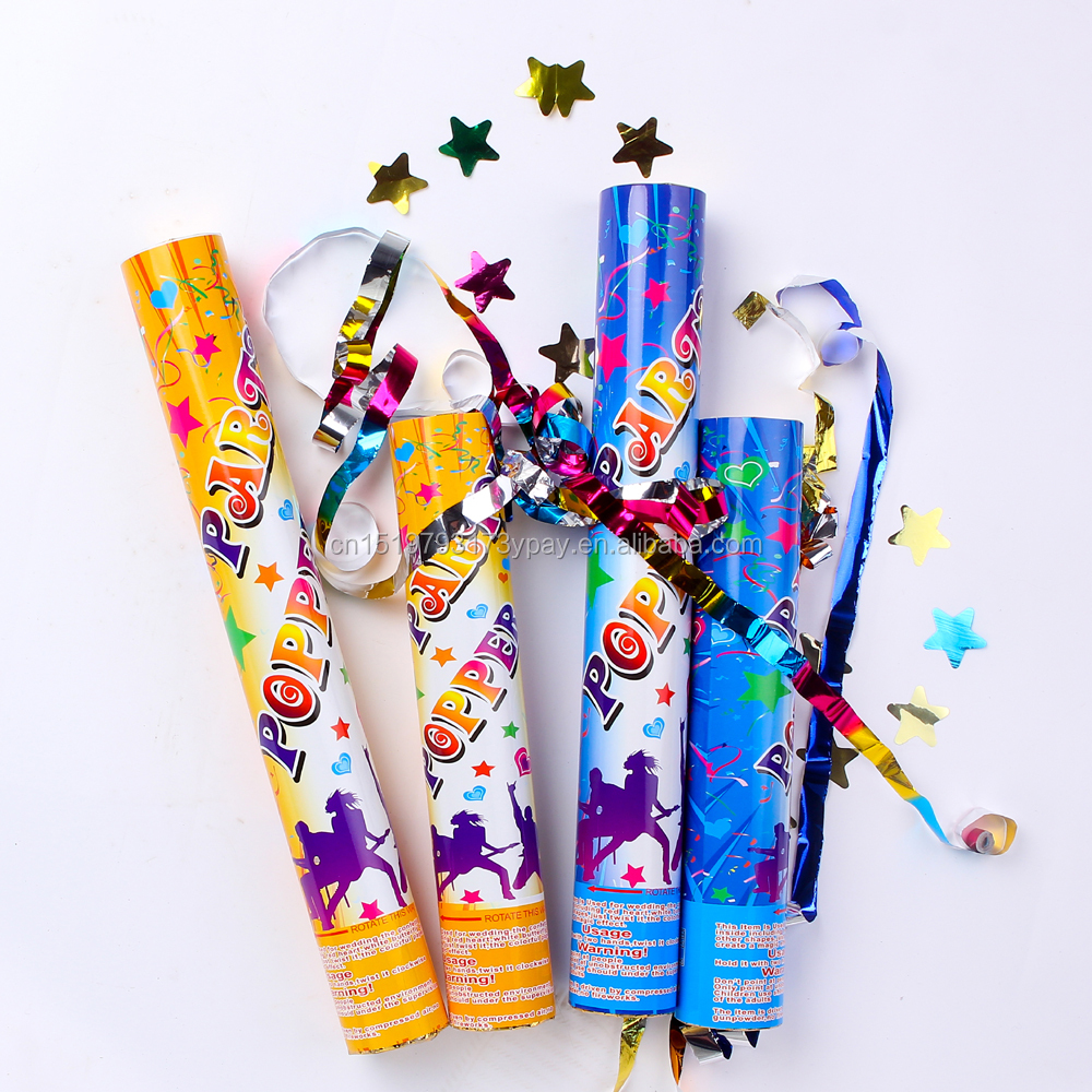 High Quality party popper confetti cannon with colorful metallic foil star