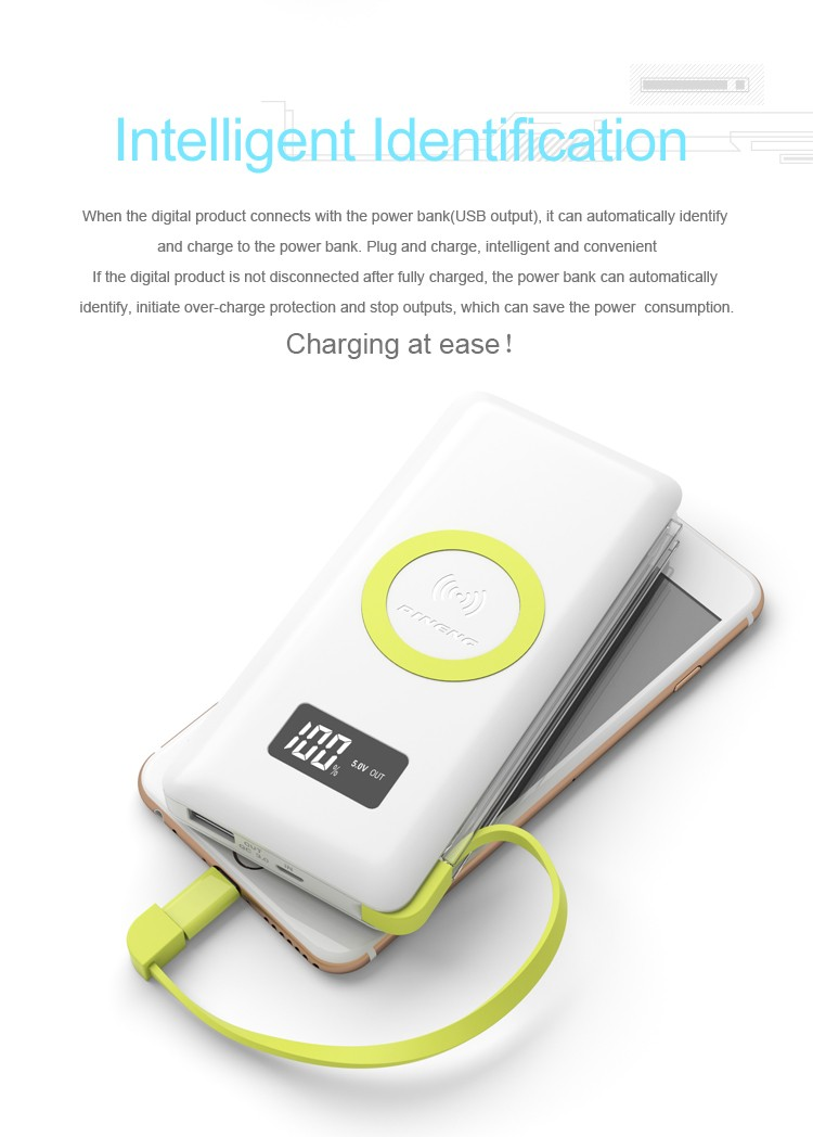Quick charging QI Wrieless charging External Power Battery built-in input cable power bank