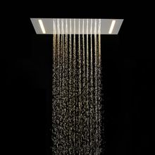 500*360mm Ceiling Mounted Chrome Plate 304 Stainless Steel Square Big Led Rainfall , Rain Top Shower Head