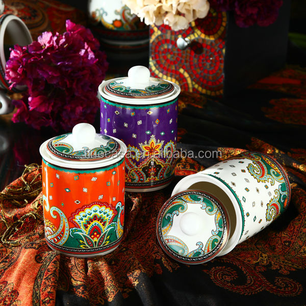 800CC Luxury Fine New Bone China Airtight Ceramic Coffee Canister of Paisley