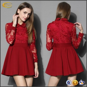 080848a63817 Vivid Flower Red Mesh Lace Skater Long Sleeve Evening Dresses Short ...
