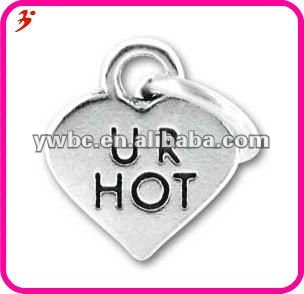 Antique silver heart tag charm with U R hot (H101710)