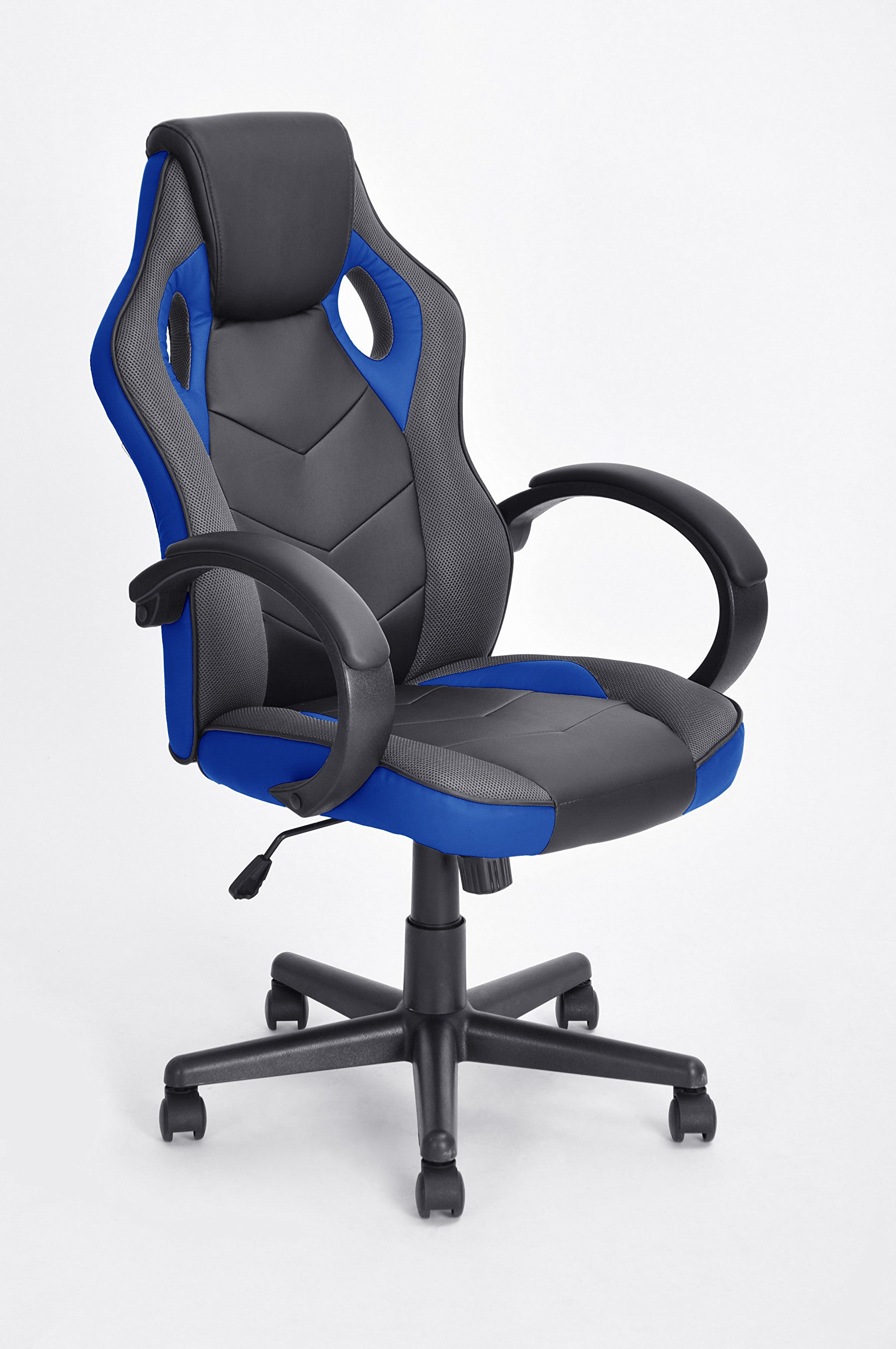 Executive Racing Style Office Chair PU Leather Swivel Computer Desk on blue race car desk chair, retro style office chair, racing computer chair, racing furniture, camaro racing car office chair, antique style office chair, audi racing office chair, gt omega pro racing office chair, sitting in a chair, racing seats, racing chair xbox one, western style office chair, car style office chair, racing style swivel chair,