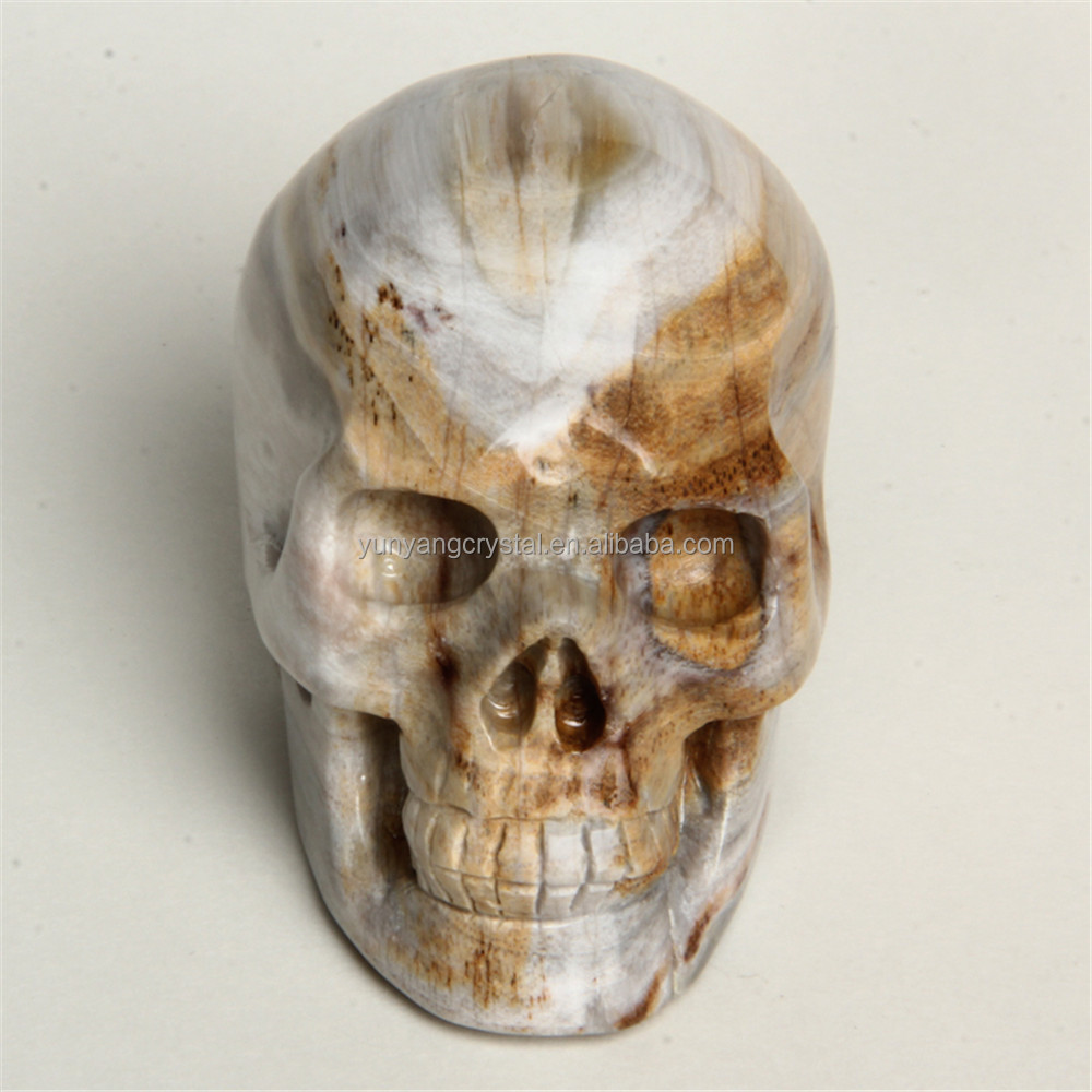 New Arrival crystallized wood skull Figurines Carving quartz Crystal Skull for sale