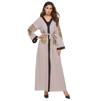 2019 Luxury Fashion Muslim Women Wear Front Open Abaya Cardigan Design Brown Abaya Dress with Embroidery Kimono For Islamic