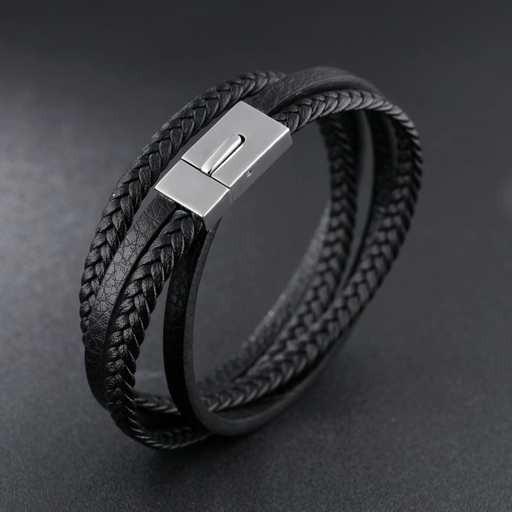China Wholesale Men Magnetic Clasp Braided Black Leather Wrap Around Bracelet