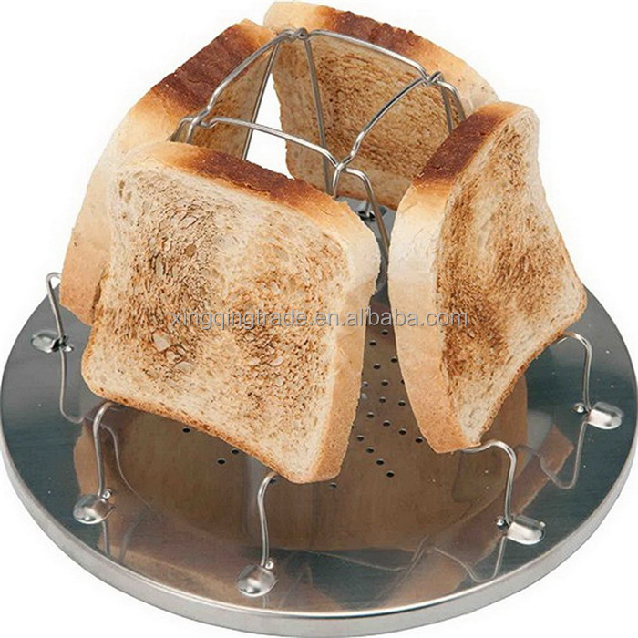 Camping Toaster Rack 4 Slice Toast Tray for Gas Stoves Cooker