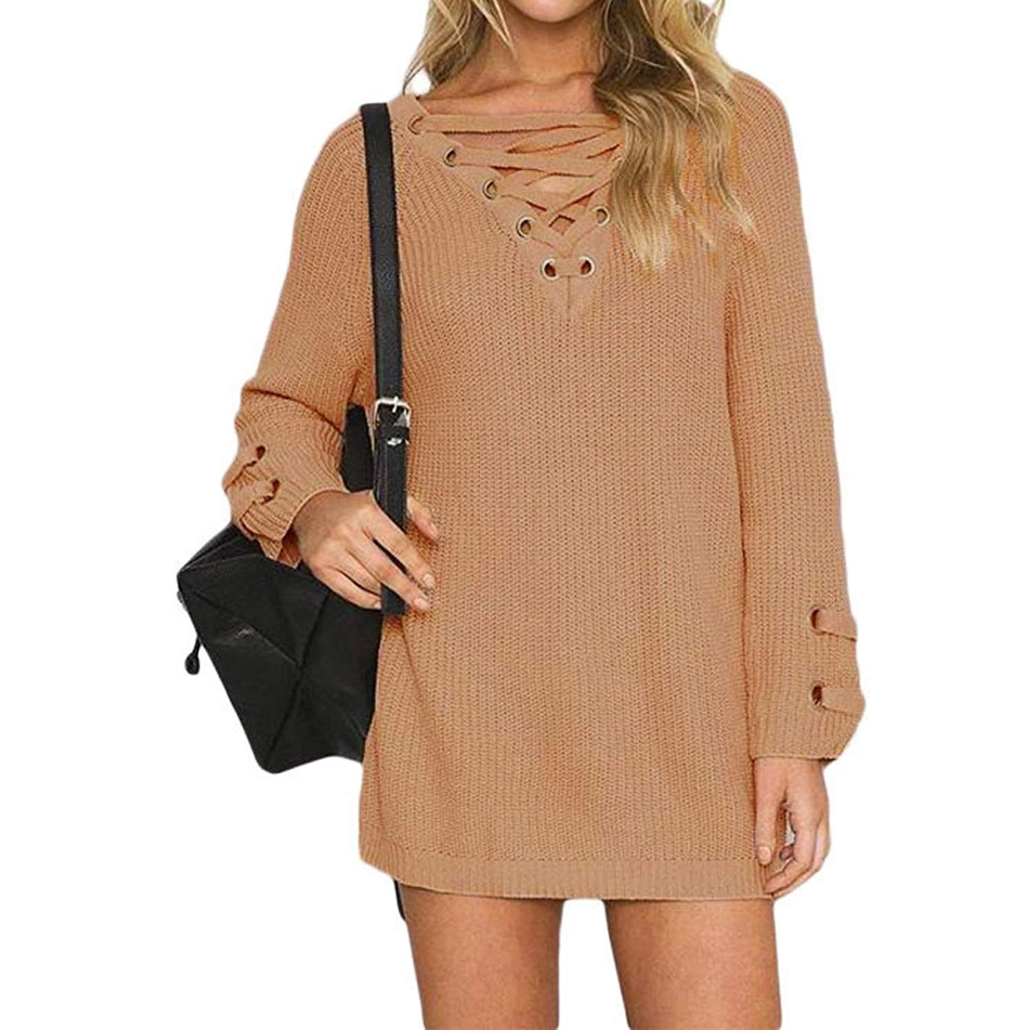 7594f537992 Get Quotations · Queen Area Women s Lace up Front V Neck Long Sleeve Knit  Pullover Sweater Dress Top