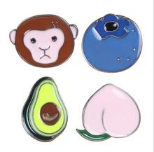 Metal lovely peach blueberry avocado monkey oil drop brooches brooch pins cute fashion jewelry accessories