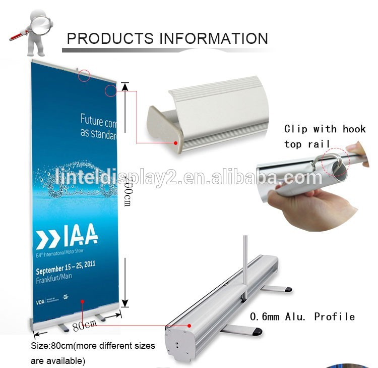 easy moving standard retractable roll up banner stand with wide base