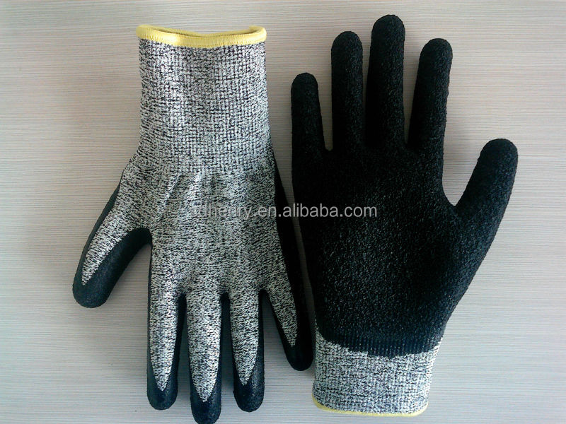 black crinkle latex cut resistant <strong>gloves</strong>
