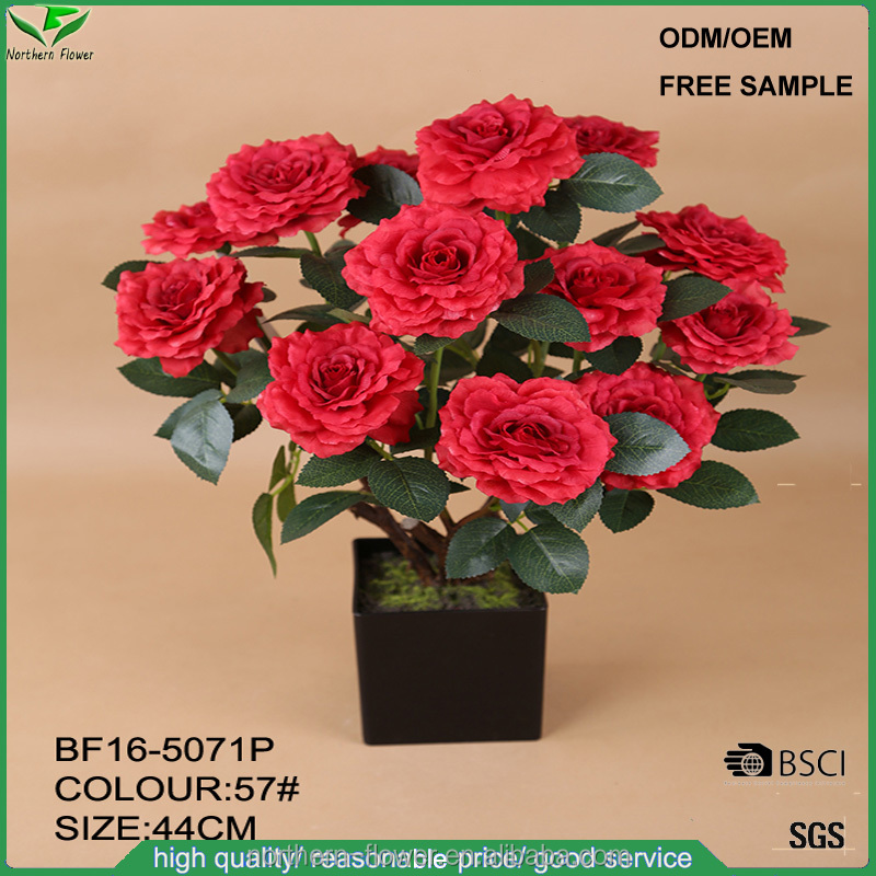 13 flower head red rose artificial flowers bonsai, fake silk flowers for wedding decoration