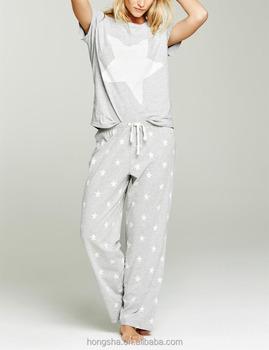 7fc2cb9314 Fancy Cotton Grey Star Women Pyjamas Hss8012 - Buy Sleep Wear ...