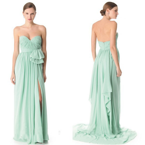 Vestido De Curto 2015 Fashion Long Mint Green Bridesmaid Dresses Summer Style Renda Chiffon Elegant Cheap Formal Dresses