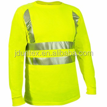 man hi vis long sleeve t shirt with reflective tape