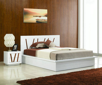 Modern White Lacquer Bedroom Furniture Wooden Bed Set By Disen