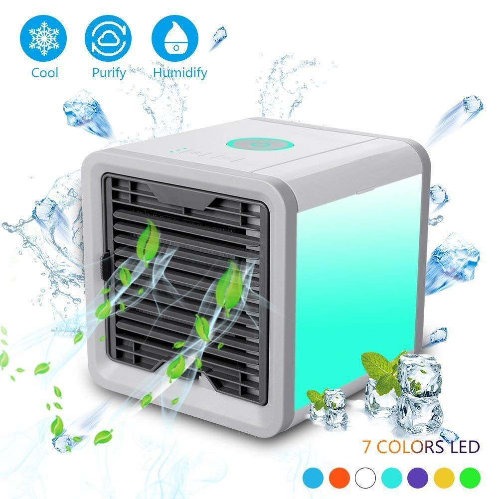 DiiZii Personal Space Air Cooler, 3 in 1 USB Mini Portable Air Conditioner, Humidifier, Purifier 7 Colors Nightstand, Desktop Cooling Fan Office Home Outdoor Travel